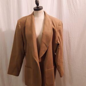 Vintage Wool womens Blazer cam colored w stitching